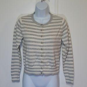 Bananna Republic cream and gray striped sweater